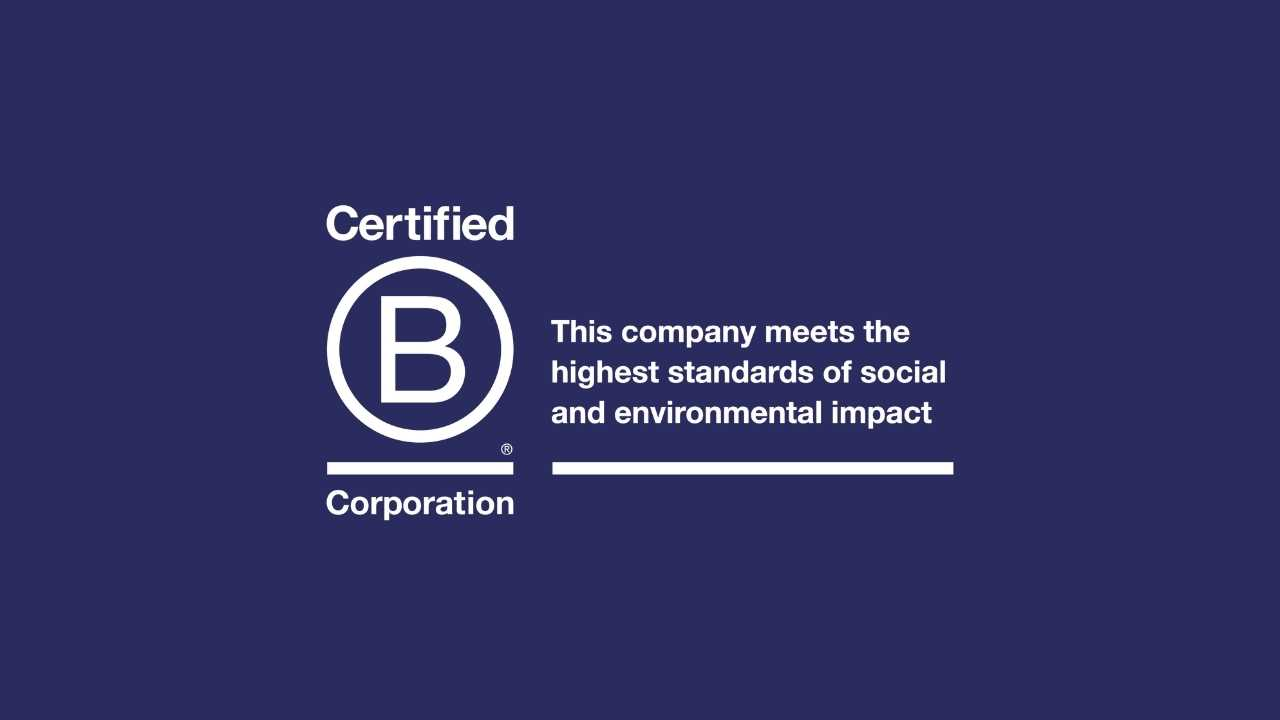 B corporation logo - this company meets the highest standards of social and environmental impact