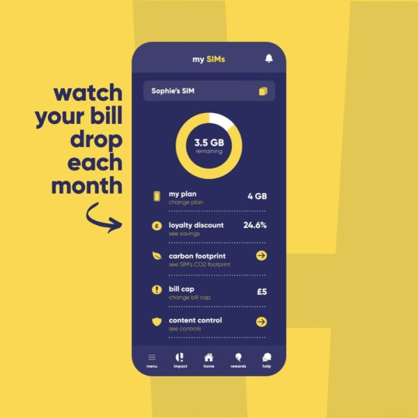 Honest Mobile app screen showing how your bill drops each month