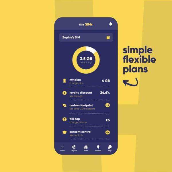 Honest Mobile app showing simple flexible plans