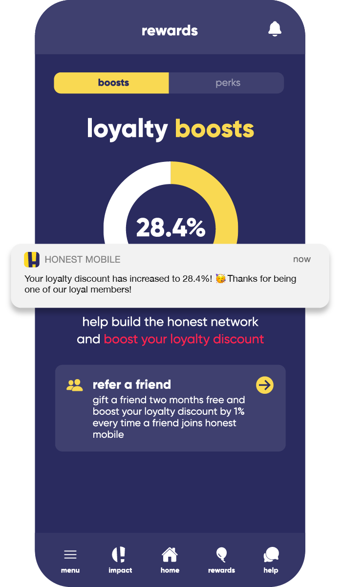 Honest Mobile app and notification showing the loyalty discount