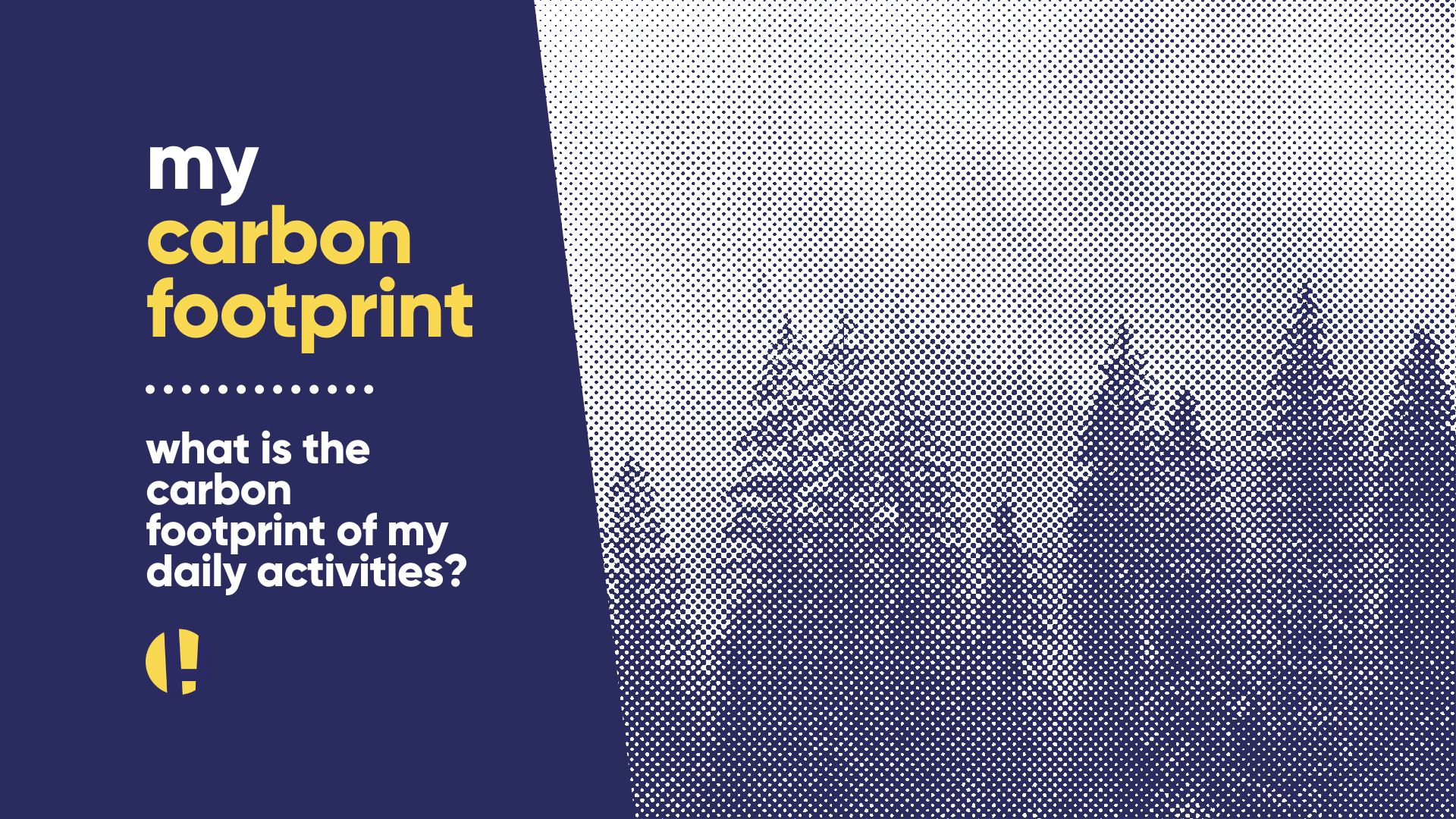 Image of trees - text reads my carbon footprint: what is the carbon footprint of my daily activities?